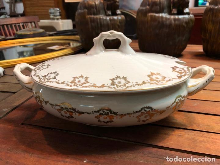 ANTIGUA SOPERA CERAMICA LA CARTUJA PICKMAN - MEDIDA TOTAL 32X18 CM (Antigüedades - Porcelanas y Cerámicas - La Cartuja Pickman)