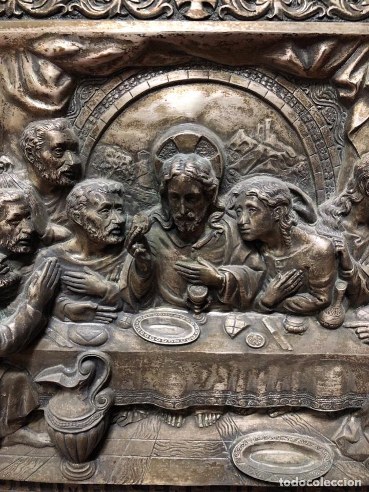 Antigüedades: CUADRO DE LA ULTIMA CENA EN RELIVENE. MEDIDA TOTAL 59.5 X 44.5 CM. MEDIDA INTERA 45.5 X 30 CM. - Foto 3 - 165155318