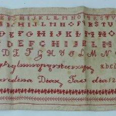 Antigüedades: ABECEDARIO PUNTO DE CRUZ, 12 DE ABRIL DEL AÑO 1894, MIDE 54 X 22 CMS.. Lote 165155842
