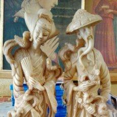 Antigüedades: PAREJA CHINOS MARFILINA. Lote 165175600