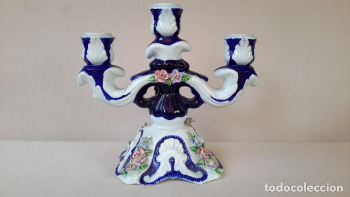 Antigüedades: Candelabro de porcelana - Foto 3 - 165193302
