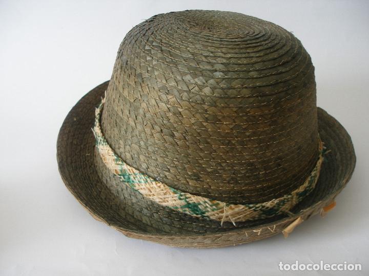 Antigüedades: Antiguo sombrero paja Barcelona años 20 sin uso con etiqueta - Foto 7 - 143186042