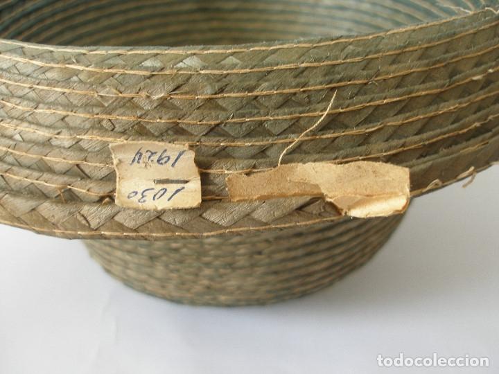 Antigüedades: Antiguo sombrero paja Barcelona años 20 sin uso con etiqueta - Foto 13 - 143186042