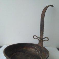 Antigüedades: ANTIGUO SARTÉN DE FORJA SIGLO XVIII MUY PRECISO. Lote 165202318