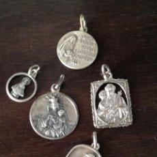 Antigüedades: LOTE DE 5 MEDALLAS DE PLATA.. Lote 165250110