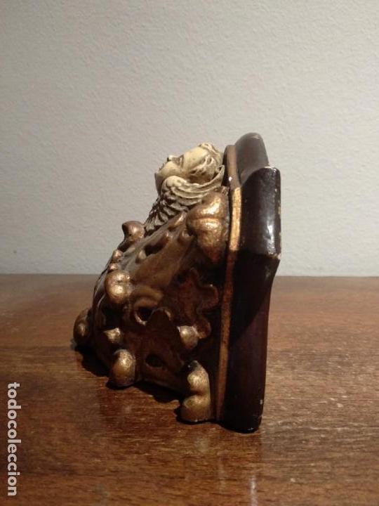 Antigüedades: antigua peana con angel en escayola - ver fotos - Foto 2 - 165261186