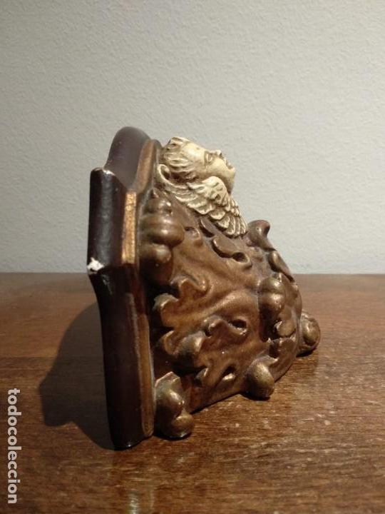 Antigüedades: antigua peana con angel en escayola - ver fotos - Foto 3 - 165261186