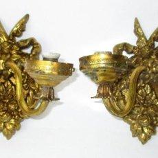 Antigüedades: 6 DISPONIBLES!!!! PAREJA DE LAMPARAS APLIQUES IMPERIO ORIGINALES CIRCA 1900 . Lote 165266234