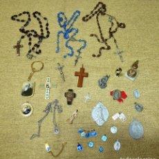 Antigüedades: LOTE RELIGIOSO DE ANTIGUAS MEDALLAS.ROSARIOS............... Lote 165270874