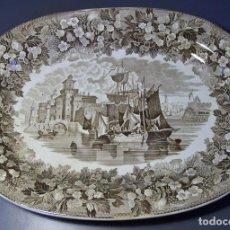 Antigüedades: GRAN BANDEJA PORCELANA XIX . Lote 165293626