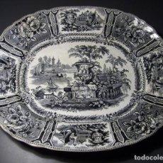 Antigüedades: GRAN BANDEJA PORCELANA DE SARGADELOS (TERCERA ÉPOCA 1845 – 1862). Lote 165294074