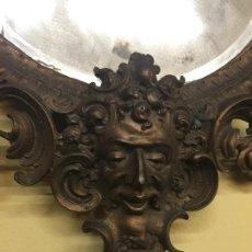 Antigüedades: PRECIOSO ESPEJO CORNUCOPIA METALICA, ACABADO EN BRONCE. MIDE EN TOTAL 64CMS ALTURA X 47CMS ANCHO. Lote 165315874