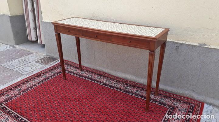 Antigüedades: Gran consola antigua estilo Luis XVI. 117 cm. Mesa auxiliar antigua estilo inglés. - Foto 3 - 165322062