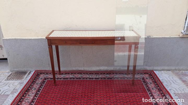 Antigüedades: Gran consola antigua estilo Luis XVI. 117 cm. Mesa auxiliar antigua estilo inglés. - Foto 5 - 165322062