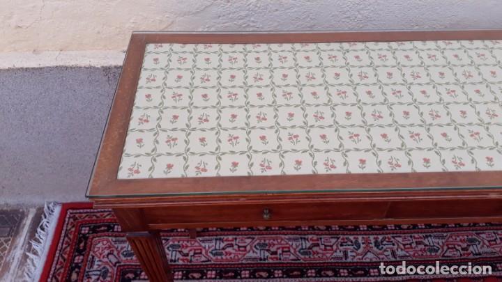 Antigüedades: Gran consola antigua estilo Luis XVI. 117 cm. Mesa auxiliar antigua estilo inglés. - Foto 7 - 165322062