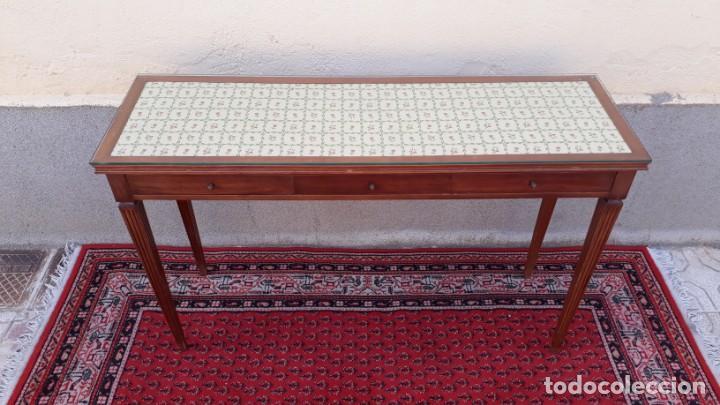 Antigüedades: Gran consola antigua estilo Luis XVI. 117 cm. Mesa auxiliar antigua estilo inglés. - Foto 8 - 165322062