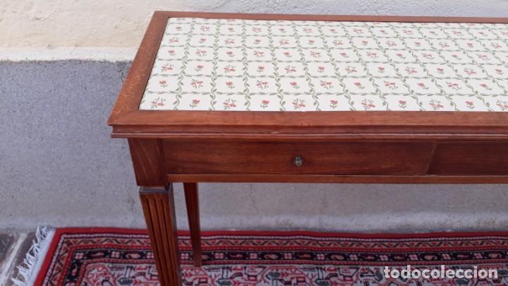 Antigüedades: Gran consola antigua estilo Luis XVI. 117 cm. Mesa auxiliar antigua estilo inglés. - Foto 12 - 165322062