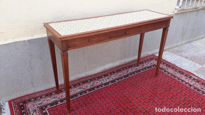 Antigüedades: Gran consola antigua estilo Luis XVI. 117 cm. Mesa auxiliar antigua estilo inglés. - Foto 13 - 165322062