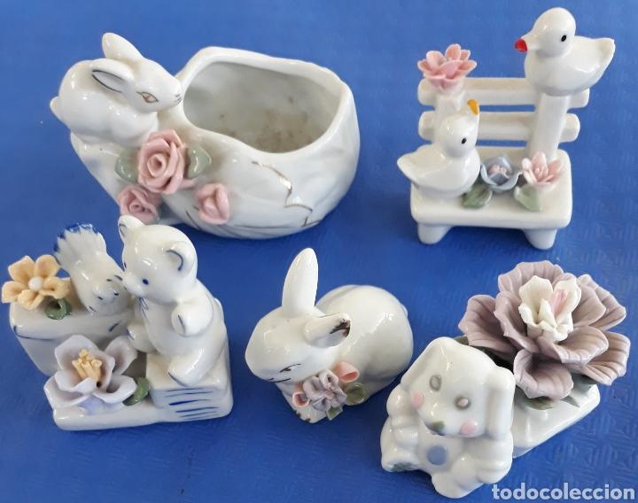 LOTE 5 FIGURITAS ANIMALES DE CENAMICA (Antigüedades - Porcelanas y Cerámicas - Otras)