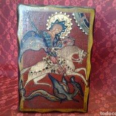 Antigüedades: ICONO PINTADO DE SAN JORGE MATANDO AL DRAGÓN. Lote 165358057