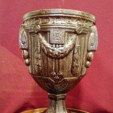 Antigüedades: CALIZ RELIGIOSO . LATON PLATEADO.. Lote 165362420