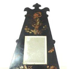 Antigüedades: ANTIGUO ESPEJO CHINO , MADERA LACADA NEGRA DECORADO EN ORO DE 1900. Lote 165365162