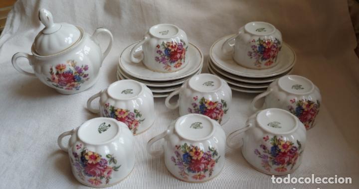 ANTIGUO JUEGO DE CAFÉ SANTA CLARA, 8 SERVICIOS CON AZUCARERO Y JARRITA LECHE (Antigüedades - Porcelanas y Cerámicas - Santa Clara)