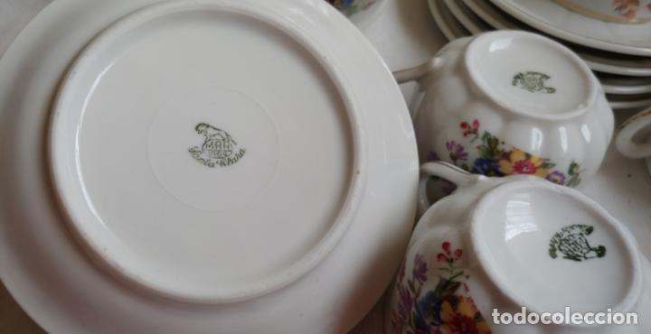 Antigüedades: Antiguo Juego de café SANTA CLARA, 8 servicios con azucarero y jarrita leche - Foto 4 - 165373942