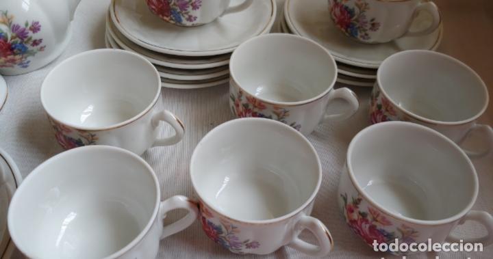 Antigüedades: Antiguo Juego de café SANTA CLARA, 8 servicios con azucarero y jarrita leche - Foto 6 - 165373942
