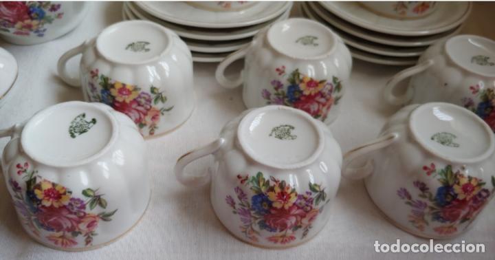 Antigüedades: Antiguo Juego de café SANTA CLARA, 8 servicios con azucarero y jarrita leche - Foto 8 - 165373942