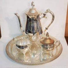 Antigüedades: BONITO JUEGO DE CAFE EN ALPACA BAÑO DE PLATA. Lote 165380133
