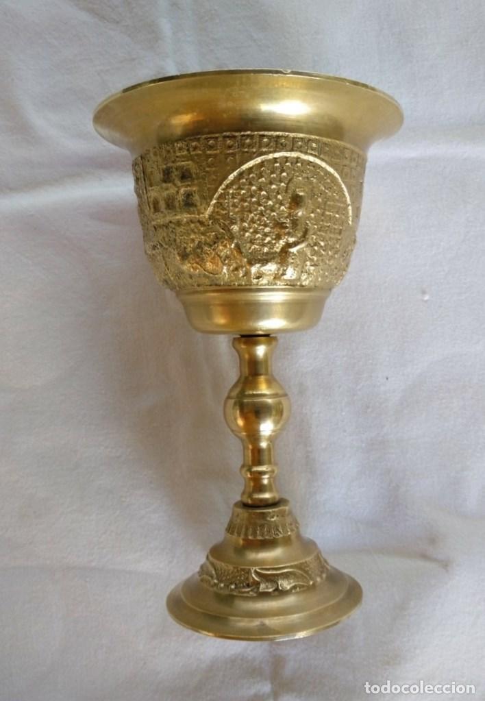 Antigüedades: CALIZ EN BRONCE DORADO. - Foto 2 - 165380670
