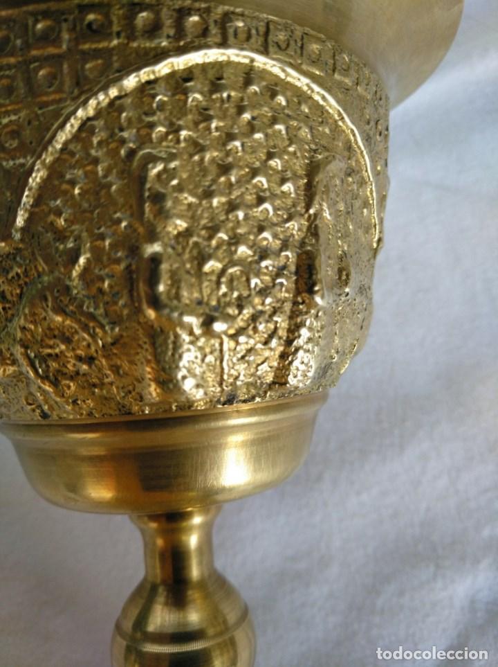 Antigüedades: CALIZ EN BRONCE DORADO. - Foto 4 - 165380670