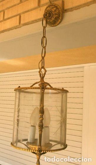Antigüedades: FAROL LAMPARA TECHO BRONCE CILINDRICO CRISTAL TALLADO (AÑOS 60-70) ALTURA 38 CM - Foto 3 - 165384454