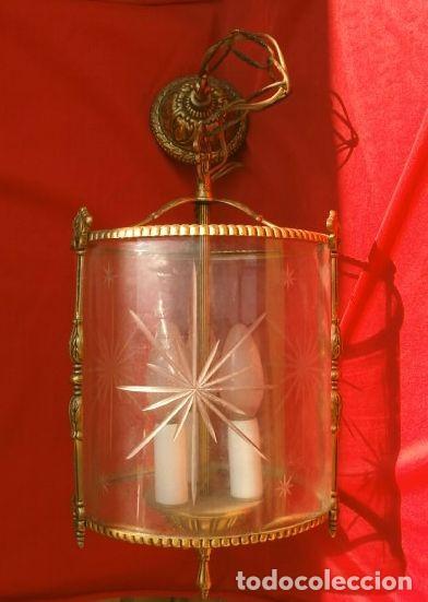 Antigüedades: FAROL LAMPARA TECHO BRONCE CILINDRICO CRISTAL TALLADO (AÑOS 60-70) ALTURA 38 CM - Foto 6 - 165384454