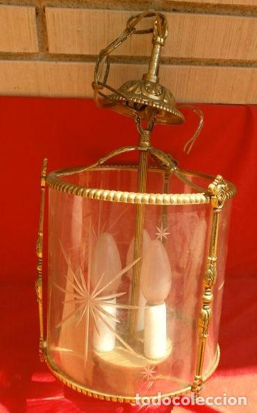 Antigüedades: FAROL LAMPARA TECHO BRONCE CILINDRICO CRISTAL TALLADO (AÑOS 60-70) ALTURA 38 CM - Foto 7 - 165384454