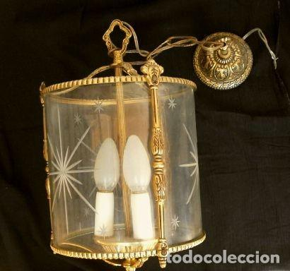 Antigüedades: FAROL LAMPARA TECHO BRONCE CILINDRICO CRISTAL TALLADO (AÑOS 60-70) ALTURA 38 CM - Foto 8 - 165384454