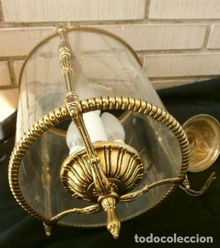 Antigüedades: FAROL LAMPARA TECHO BRONCE CILINDRICO CRISTAL TALLADO (AÑOS 60-70) ALTURA 38 CM - Foto 9 - 165384454