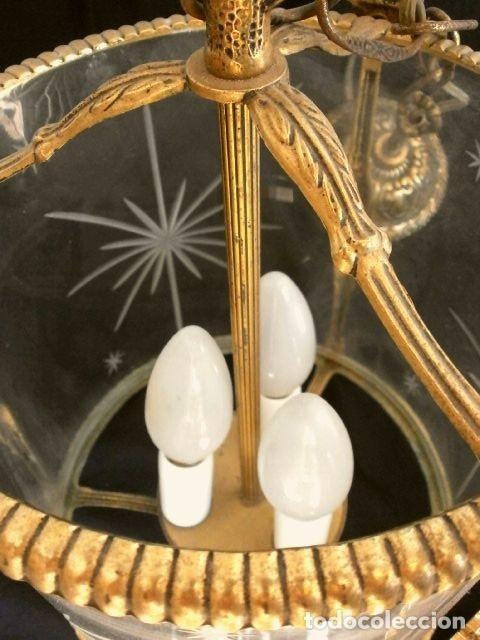 Antigüedades: FAROL LAMPARA TECHO BRONCE CILINDRICO CRISTAL TALLADO (AÑOS 60-70) ALTURA 38 CM - Foto 10 - 165384454