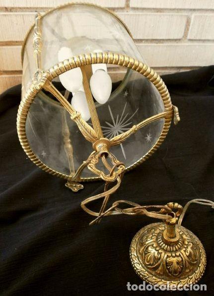 Antigüedades: FAROL LAMPARA TECHO BRONCE CILINDRICO CRISTAL TALLADO (AÑOS 60-70) ALTURA 38 CM - Foto 11 - 165384454