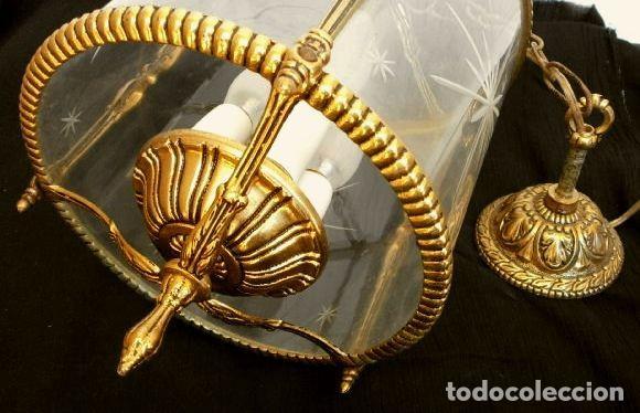 Antigüedades: FAROL LAMPARA TECHO BRONCE CILINDRICO CRISTAL TALLADO (AÑOS 60-70) ALTURA 38 CM - Foto 13 - 165384454