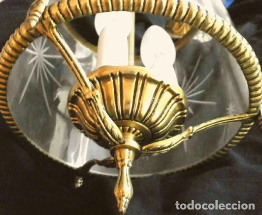Antigüedades: FAROL LAMPARA TECHO BRONCE CILINDRICO CRISTAL TALLADO (AÑOS 60-70) ALTURA 38 CM - Foto 17 - 165384454