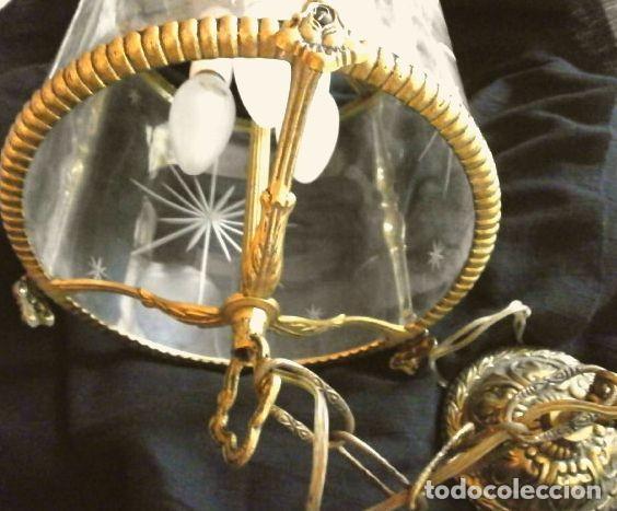 Antigüedades: FAROL LAMPARA TECHO BRONCE CILINDRICO CRISTAL TALLADO (AÑOS 60-70) ALTURA 38 CM - Foto 18 - 165384454