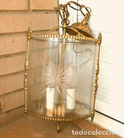 Antigüedades: FAROL LAMPARA TECHO BRONCE CILINDRICO CRISTAL TALLADO (AÑOS 60-70) ALTURA 38 CM - Foto 19 - 165384454