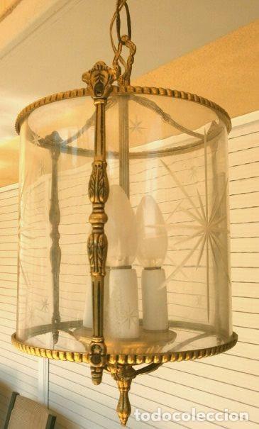 Antigüedades: FAROL LAMPARA TECHO BRONCE CILINDRICO CRISTAL TALLADO (AÑOS 60-70) ALTURA 38 CM - Foto 20 - 165384454