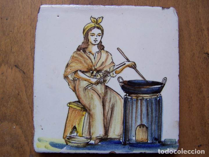 LA CASTAÑERA: AZULEJO CATALÁN DE OFICIOS DEL SIGLO XVIII. DIMENSIONES 13 ,5 CM. POR 13, 50 CM. (Antigüedades - Porcelanas y Cerámicas - Catalana)