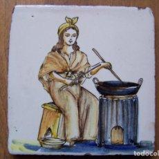 Antigüedades: LA CASTAÑERA: AZULEJO CATALÁN DE OFICIOS DEL SIGLO XVIII. DIMENSIONES 13 ,5 CM. POR 13, 50 CM.. Lote 165393062