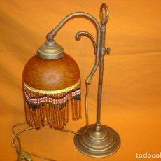 Antigüedades: LAMPARA SOBREMESA BRONCE UNA TULIPA. Lote 165450682
