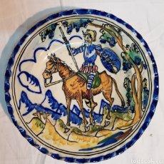 Antigüedades: PLATO ANTIGUO DE DON QUIJOTE DE PUENTE DE ARZOBISPO TOLEDO 24 CM. Lote 165458170