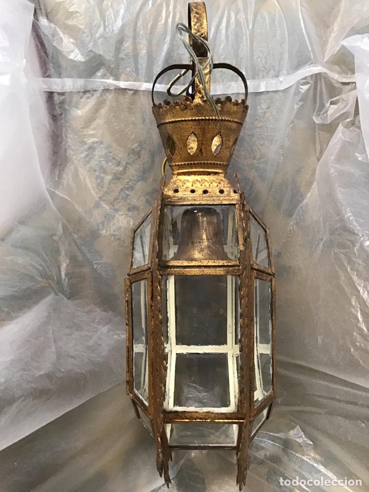 Antigüedades: Lámpara techo , metal sobre dorado. Antigua. - Foto 2 - 165467640